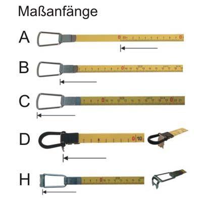 Glasfaser Bandmaß Länge 30m, mm-Teilung, gelb, V-Rahmen Maßband 13mm ...